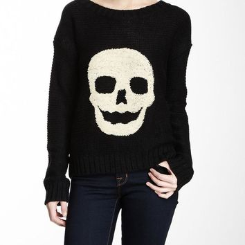 Black & Off White Skull Embroidered Knit Pullover Sweater Small