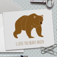 Cute Love Card, I Love You Beary Much, Puns, Cute Valentine Card, 5.5 x 4.25 Inch (A2) Card,Card for Kids, Boyfriend, Girlfriend