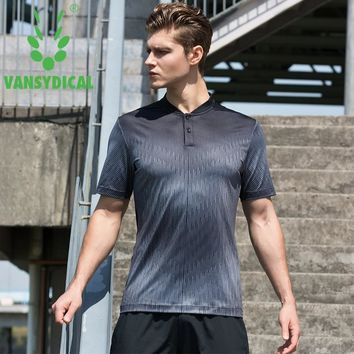 Men's Stand Collar Sports Polo Shirts Quick Dry Running Jogging Tops Printed Tennis Golf Training T-shirts