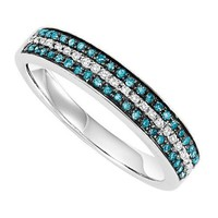 Sterling Silver Blue and White 1/3ctw Diamond Band