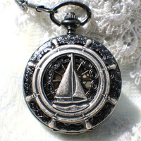 Mechanical pocket watch, men's pocket watch with a sail boat mounted on front cover