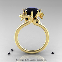 Art Masters 14K Yellow Gold 3.0 Ct Black Diamond Dragon Engagement Ring R601-14KYGBD