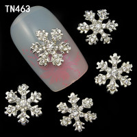 10pcs Alloy 3D Nail Art Stickers White Snowflakes Christmas Glitter Nail Gel Tools DIY Rhinestone & Decoration TN463