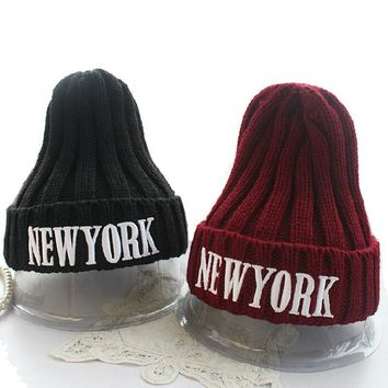New York Hats for Women Knit Solid Color Winter Skullies & Beanies Top Quality Hip Hop Letter Thick Caps for Female Gorras