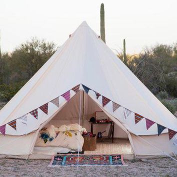 Sand Colored Vintage Style   Bell Tent   16.5 Feet   Glamping   Canvas Festival Tent   Tipi Yurt Chill Tent Music Festivals Boho Bohemian