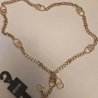 MICHAEL KORS Women's Yellow Gold Metal Chain Belt MK Charms 552507MA SZ M/L NWT