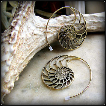 Nautilus Sacred Geometry Spiral Earrings ~ Tribal style, like fake gauges ~ brass