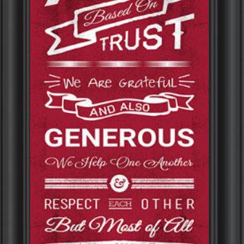 NCAA Poster Alabama Framed Personalized Family Cheer Print