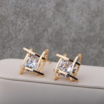 Exquisite Square Cubic Zirconia Crystal Stud Gold Plated Earrings