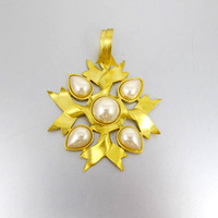 Carol Dauplaise Pendant. Large Gold Pearl Flower Pendant Enhancer Slide Signed Dauplaise.