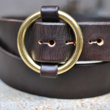 The Redford - Mens Brown O-Ring Leather Belt