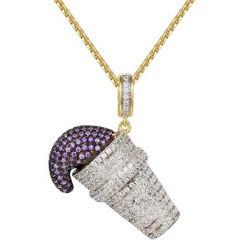 Men's Lean Purple Cup Drank Iced Out Pendant