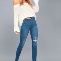Mile High Super Skinny Medium Wash Distressed Jeans