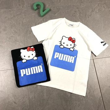 """Puma x Hello Kitty"" Unisex Casual Cute Cartoon Letter Pattern Print Short Sleeve Couple T-shirt Top Tee"