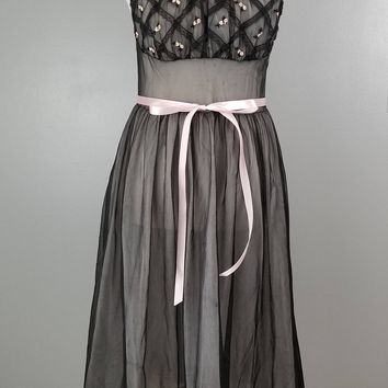 Seamprufe Black Chiffon with Pink Chiffon Underlay Criss Cross Lattice Lace Front with Little Pink and White Flowers Nightgown Negligee