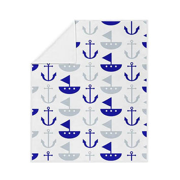 Boat and Anchor Pattern Fleece Blanket