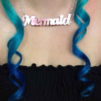 Seafoam Acrylic Mermaid Necklace by imyourpresent on Etsy