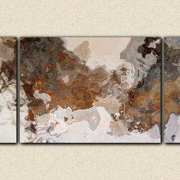 "Oversize triptych abstract art 30x60 to 40x78 stretched canvas print, in earthy brown and grey, ""Ball and Chain"""