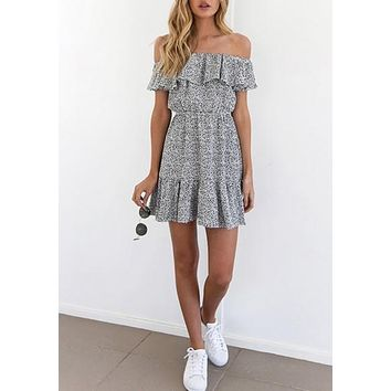 White Wave Point Ruffle Boat Neck Fashion Mini Dress