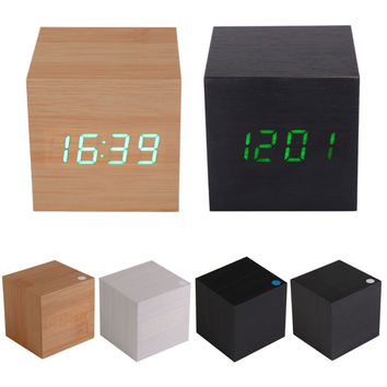 High Quality Brand New Modern Wooden USB AAA Powered Digital LED Desk Alarm Clock Thermometer Free Shipping MTY3