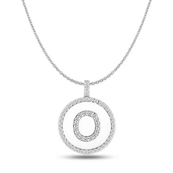 """O"" Diamond Initial 14K White Gold Disk Pendant (0.58ct)"