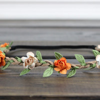 Halloween Flower Crown, Floral Crown, Womens Flower Crown, Fall Flower Crown, Vintage Ivory Flower Crowns, Festival Crown, Girls Headband