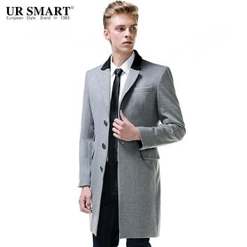 URSMART British-style single-breasted wool coat men's business casual men's light gray coat jacket