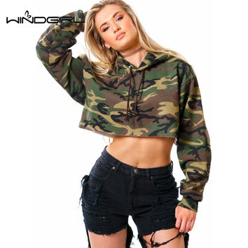 WINDGIRL Women Spring Short Casual Sweatshirt Hippop Cropped Hoodies Pullover Ladies Camo Color Sweatshirt 2017 bts tracksuit