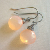 Pink Grapefruit Chalcedony Earrings with Oxidized Silver Metal