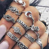 Antique Flower Midi Finger Rings
