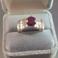 Vintage Sterling Ruby Ring CZ Cocktail Wedding Engagement Jewelry