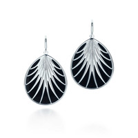 Tiffany & Co. - Villa Paloma palm earrings in sterling silver with black onyx, large.