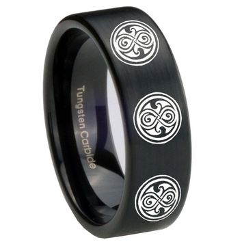 8MM Brush Black Multiple Doctor Who Pipe Cut Tungsten Carbide Laser Engraved Ring