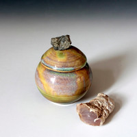 Rustic trinket pots, Organic Multi-colored Green Rock Pots for Herbs, Spices, or Trinkets and Jewelry