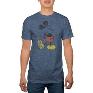 Disney Men's Mickey Mouse Graphic Tee, X-Large, Navy Heather