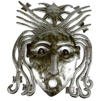 Haitian Steel Drum Dreadlock Face 10 inch Wall Art - Croix des Bouquets
