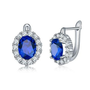 Round Gem Police Awareness Halo Earrings