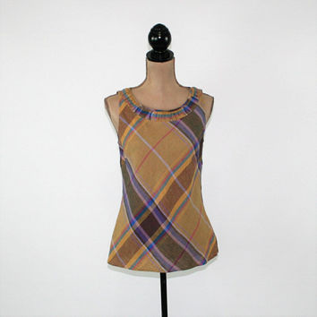 Sleeveless Tops for Women Summer Top Linen Top Casual Plaid Top Small Medium Carole Little Womens Clothing
