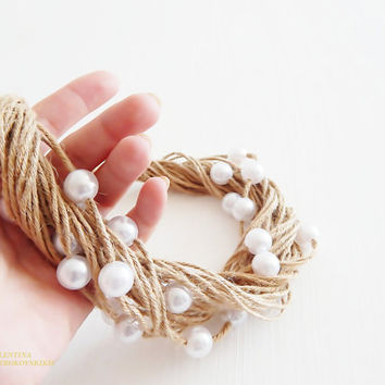 Eco-Friendly Necklaces. Womens Handmade Jewellery Necklace. Pearl bib necklace