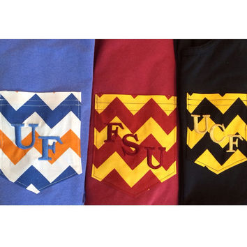 UF, FSU, and UCF embroidered chevron pocket tank, tee, or v-neck