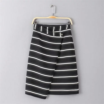 Women's Fashion Summer Stripes Dress Irregular Skirt [4920260868]