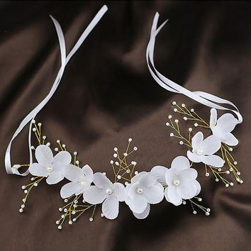 CREYCI7 Wedding Hair Accessories For Bridal Lace Flowers Crystal Pearl Headbands Korea Trendy Floral Tiaras Crowns  Women Hair Headdress