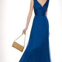 Shopping Classic V-Neck Silk Floor-Length Evening Dress Jes760
