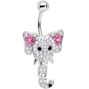 Clear Pink Gem Hinged Trunk Elephant Dangle Belly Ring