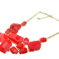 Fiery Red Bib Statement Necklace