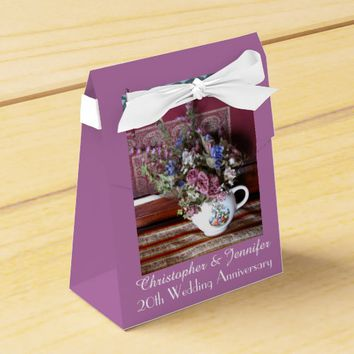 20th Wedding Anniversary Favor Box, Vintage Teapot Favor Box
