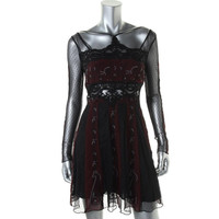 Free People Womens Crepe Embroidered Clubwear Dress