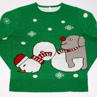 Adult Ugly Christmas Sweater - Dog Humping Snowman