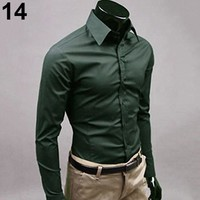 Men's Casual Long Sleeve Shirt size mlxl