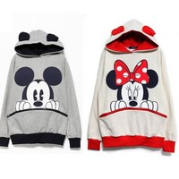 Womens Fashion Cute Mouse Print Ears Loose Couple Hoodie Jacket 2 Color E427 TQ